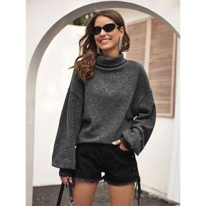 Turtleneck bishop sleeve knit sweater gray